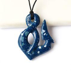 Fish hook Hei matau Maori hook Maori necklace Blue by BDSart