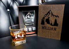 Coaster and glass and 3 whiskey stones in personalized wood box. Whiskey Gift Set, Leather Coasters, Light Oak, Real Leather, Italian Leather, Wood Boxes, Root Beer, Stone, Tableware