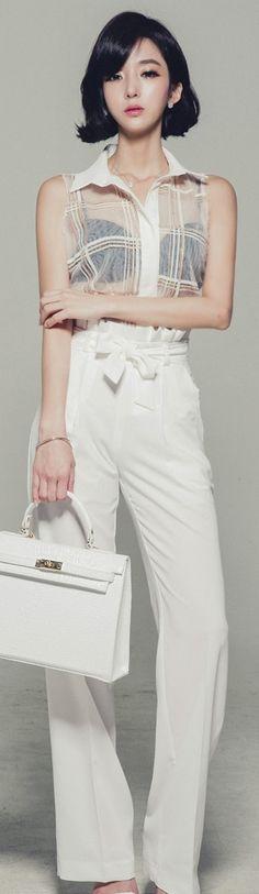 Luxe Asian Women Korean Model Fashion Style Check See Through Ivory Blouse