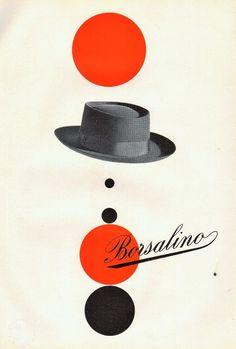 PUBBLICITA' 1952 CAPPELLO BORSALINO ALESSANDRIA MODA STILE DESIGN ROSSO NERO