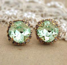 Clear Mint green seafoam Crystal big stud Mini Petite vintage earring - 14k plated gold post earrings real swarovski rhinestones.