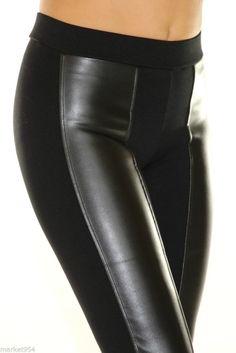 Quality Stretch Women Black Leather Pants rockstar skinny Jeans High rise waist