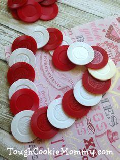 Valentine's Day Poker Chip Heart Wreath