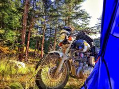 What a splendid view from my tent. Royal Enfield, Golf Bags, Tent, Bike, Adventure, Bicycle, Store, Tents, Bicycles