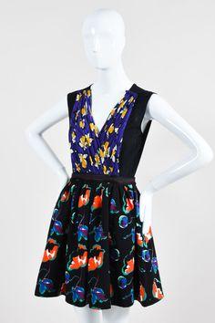 Miu Miu Black Multicolor Floral Prints Sleeveless Fit and Flare Dress SZ 42 #MiuMiu #Sexy #Cocktail