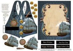 Man s Vest Card Set with Decoupage on Craftsuprint - Add To Basket!