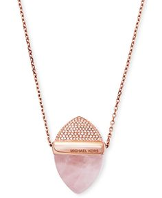Michael Kors Rose Gold-Tone Pink Stone and Pave Pendant Necklace