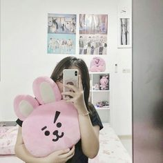peachymims not mine adjust to me for further with Kpop Aesthetic, Pink Aesthetic, Army Room Decor, Kpop Merch, Aesthetic Bedroom, Room Tour, Bts Wallpaper, Instagram, Creative