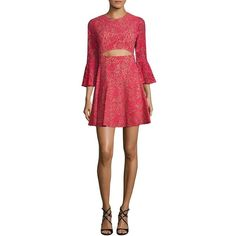 BCBGMAXAZRIA Floral Lace Dress ($254) ❤ liked on Polyvore featuring dresses, lace cut out dress, 3 4 sleeve lace dress, red dress, lace bell sleeve dress and red cut-out dresses