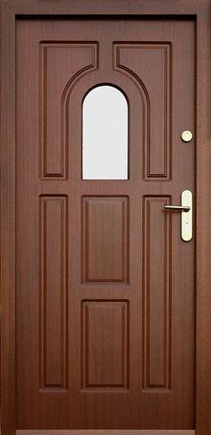 Drewniane wejściowe drzwi zewnętrzne do domu z katalogu modeli klasycznych wzór 505s Wooden Glass Door, Wooden Front Door Design, Wood Front Doors, House Gate Design, Door Gate Design, Bedroom Door Design, Pooja Door Design, Modern Wooden Doors, Decoration