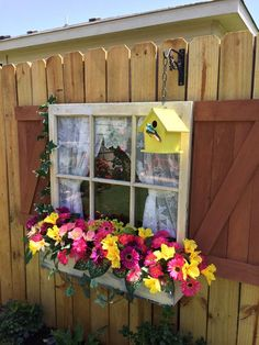 Re purposed old window added to the fence as if the fence is part of a old west home. Shutters and window box hand made with cedar pickets. Backyard Fences, Backyard Landscaping, Old West Town, West Home, Garden Yard Ideas, Fence Ideas, Garage Ideas, Garden Bed, Fence Art