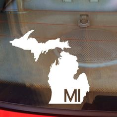 Show off your state pride with this decal which features the state abbreviation within the silhouette!
