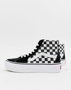 f249e93ebd5d40 Vans Black Checkerboard Platform Sk8-Hi Sneakers