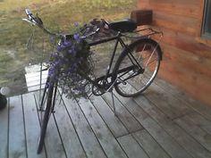 old bike with flower basket