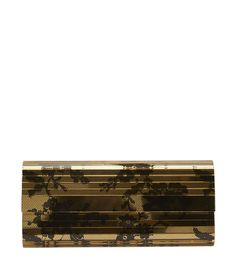 Jimmy Choo Sweetie Black and Gold Lace Print Clutch
