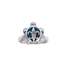 Fleur De lis on Sea Turtle's Carapace Sterling Silver Ring TRI1230