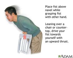 Heimlich maneuver on oneself - good thing to know, folks.  I've had to perform the Heimlich maneuver on others several times
