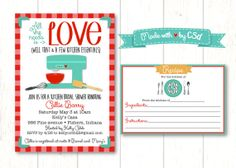 Printable Kitchen Bridal Shower and Recipe by CoCoStineDesigns, $15.00