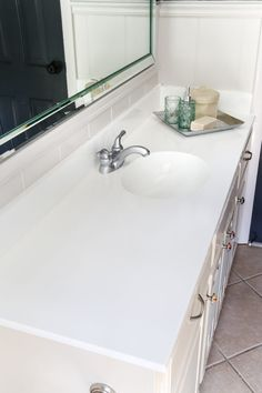 Marble Countertops for Bathroom Lovely Diy Painted Bathroom Sink Countertop Bless Er House Painting Bathroom Countertops, Diy Countertops, Bathroom Flooring, Painting Formica Countertops, Granite Bathroom, Kitchen Tile, White Bathroom, Small Bathroom, Bathroom Ideas