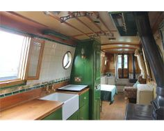 The Boathouse: a new definition to lakefront living! Narrowboat Kitchen, Narrowboat Interiors, Canal Boat Interior, Barge Interior, Canal Barge, Houseboat Living, Houseboat Ideas, Lakefront Property, Boat Lift