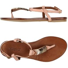 Inuovo Thong Sandal (6.740 RUB) ❤ liked on Polyvore featuring shoes, sandals, pastel pink, flat sandals, leather sandals, flat thong sandals, pink leather shoes and pink shoes