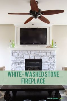 White-Washed Stone Fireplace using chalk paint. Such an easy but gorgeous update! Life On Virginia Street