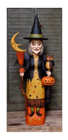 Halloween Night Witch ~ original wood carving by Greg Guedel