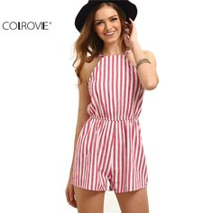 46ca1578171e COLROVIE Sleeveless Summer Style Beach Rompers Women Jumpsuit Ladies Sexy  Vertical Stripe Backless Cutaway Rompers-in Rompers from Women s Clothing  ...