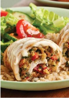 Spinach-Stuffed Chicken Breasts for Two – Stuffing, fresh spinach and roasted red peppers are rolled inside juicy chicken breasts and topped with creamy sauce in this better-for-you recipe for two.