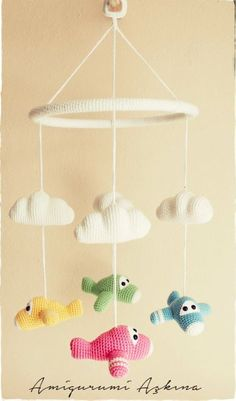 Crochet Dolls, Cute Crochet, Crochet Baby Mobiles, Crochet Mobile, Airplane Mobile, Crochet Baby Blanket Beginner, Crochet Baby Clothes, Baby Toys, Crochet Patterns