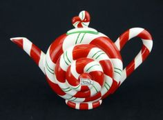 Dept 56 Red Peppermint Swirl Teapot Christmas Holiday Hand Painted Ceramic
