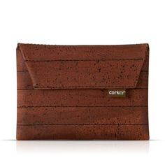 """A beautiful tablet sleeve, made from """"cork"""". It is smooth, light and has a interesting texture. Vegan and made from sustainable cork plantations in Portugal. Vegan Fashion, Cork, Fashion Accessories, Material, Card Holder, Portugal, Eco Friendly, Sleeves, Bags"""