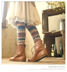 Love skirts, tights, and boots.