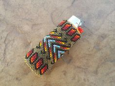 Native American Beaded Lighter Cover/Case by AmandasBeadingHeart