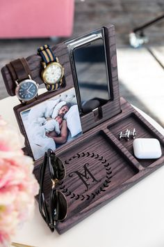 Personalized wooden night stand docking station for phone and watch . Elegant desk accessory with your photo Gift Box For Men, Diy Gifts For Dad, Gifts For Husband, Fathers Day Gifts, Birthday Gifts For Men, Unique Gifts For Men, Gifts For Brother, Christmas Gift For Dad, Personalized Christmas Gifts