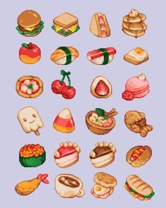 came2slide • Twitter Pixel Art Food, Cool Pixel Art, Pixel Art Games, Cool Art, Sprites, Pix Art, Cute Food Art, Isometric Art, Minecraft Designs
