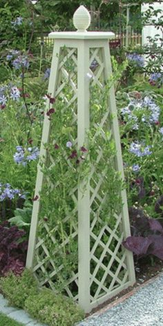 Garden obelisk - 54 Amazing Wooden Garden Planters Ideas You Should Try – Garden obelisk Garden Arbor, Garden Trellis, Garden Landscaping, Plant Trellis, Garden Fences, Potager Garden, Herbs Garden, Garden Shrubs, Garden Crafts