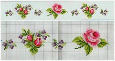 Lovely heart things: needlework, decor and much more: Cross Stitch: Delicate roses style Shabby chic (schema collection) Cross Stitch Borders, Cross Stitch Rose, Cross Stitch Flowers, Cross Stitch Charts, Cross Stitch Designs, Cross Stitching, Cross Stitch Patterns, Ribbon Embroidery, Cross Stitch Embroidery