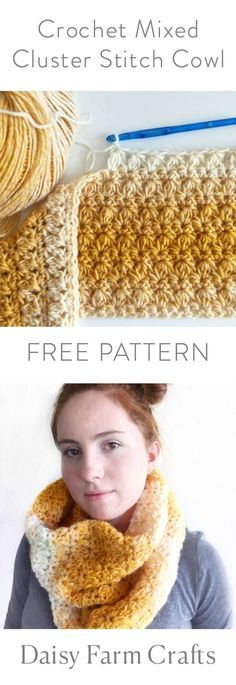 Free pattern for the mixed cluster stitch cowl. This pattern uses the Lion Brand Scarfie yarn in mustard/cream. Clear instructions so even beginners could make this cowl.