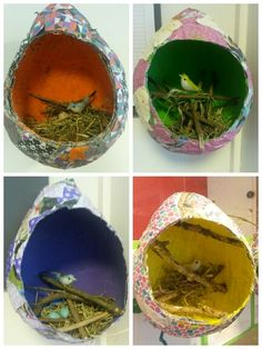 Paper Maché Peek a Boo Bird Nests. Diy For Kids, Crafts For Kids, Pomegranate Art, Art Curriculum, Diy Arts And Crafts, Spring Crafts, Elementary Art, Easter Crafts, Art Lessons