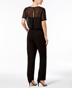 0951101fd886 Image 2 of Calvin Klein Chiffon-Overlay Jumpsuit Chiffon Fabric
