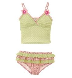 "Super Cute Tankini for girls. Polka Dots, pink, and green make this tankini very ""girly"". $38.00 #MyHartstrings"