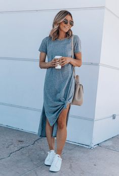 Grey Shirt Dress, Tee Dress, Casual T Shirt Dress, T Shirt Under Dress, Grey Midi Dress, Knot Dress, Mode Outfits, Casual Outfits, Fashion Outfits
