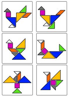 * Tangram - Oiseaux 3-3 Tangram Puzzles, Geometric Bird, Preschool Programs, Montessori Math, Bird Crafts, Easter Crafts, Puzzles For Kids, Pattern Blocks, Math Centers