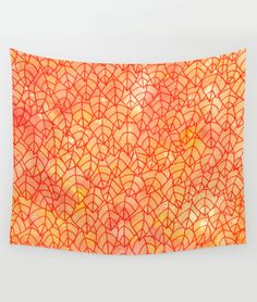 """""""Autumn foliage"""" Wall Tapestry by Savousepate on Society6 #walltapestry #homedecor #pattern #tangle #leaf #leaves #foliage #nature #autumn #fall #yellow #orange #red"""