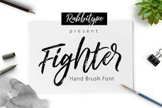 Fighter Brush by Rabbittype on @creativemarket. Price $14 #scriptfonts #handwrittenfonts #brushfonts