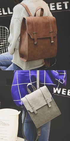 Retro Matte Square PU Metal Lock Match Large Scrub College Backpack for big sale! #backpack #retro #large #college #student