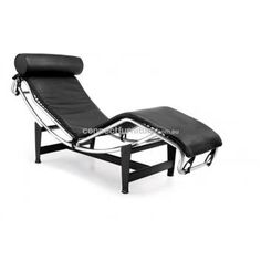 CHAISE LOUNGE CHAIR - LE CORBUSIER LC4 REPLICA - CLASSIC - BLACK INSCRDB715