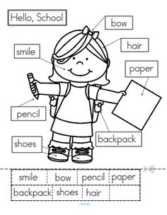 ***FREE***   Back to School cut and paste labeling activity. 3 ways to label – matching word to word, matching word to space, or writing the words in the spaces. This is a sample activity from my Back to School No Prep Printables Pack,93 pages in b/w for Preschool, Pre-K and early Kindergarten.