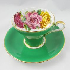 Green Aynsley Tea Cup and Saucer with Pink, Red, and Yellow Rose, Three Cabbage Roses, Corset Shape, Vintage Bone China